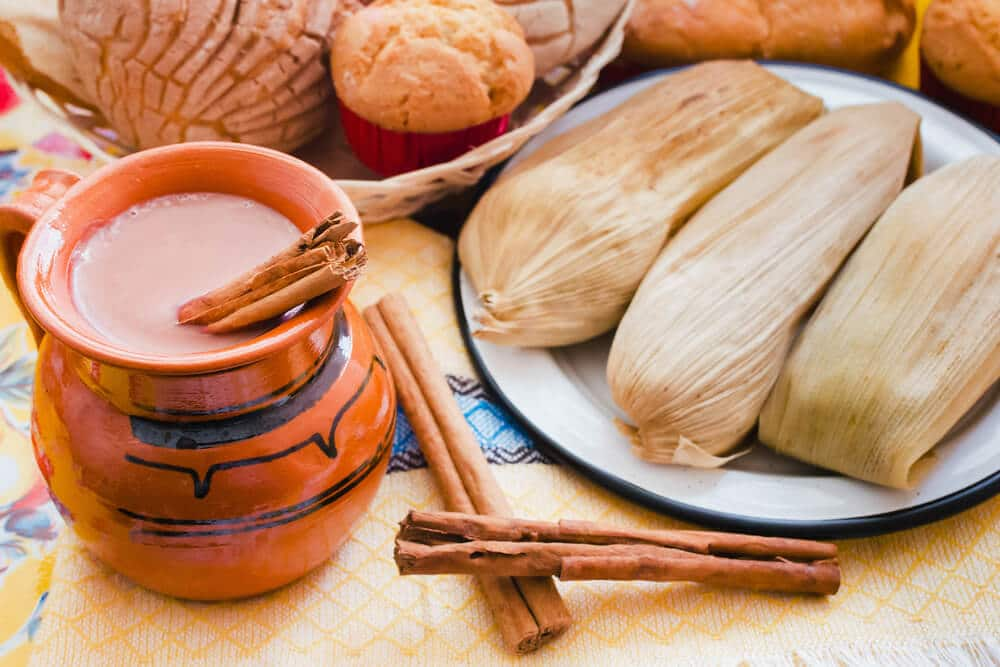 atole and tamales mexican food