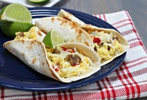 Breakfast tacos with sausage, cheese and pepper - El Rincon TX