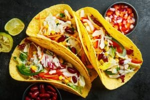 Tasty appetizing tacos with vegetables - El Rincon TX
